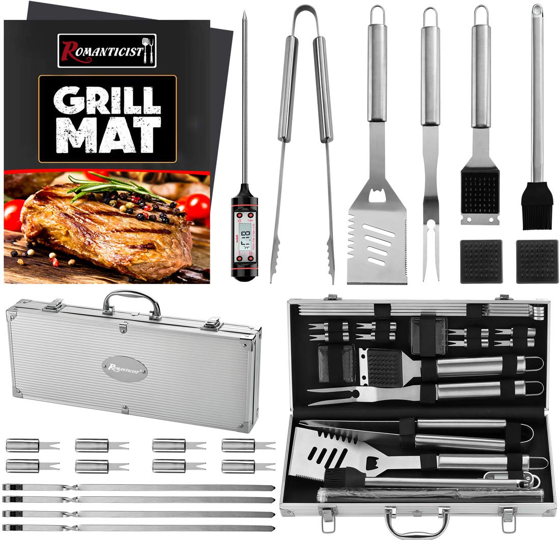 ROMANTICIST 23pc Must-Have BBQ Grill Accessories Set with Thermometer in Case – Stainless Steel Barbecue Tool Set with 2 Grill Mats for Backyard Outdoor Camping – Best Grill Gift for on Birthday