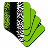 3dRose cst_35440_2 Lime Green Black and White