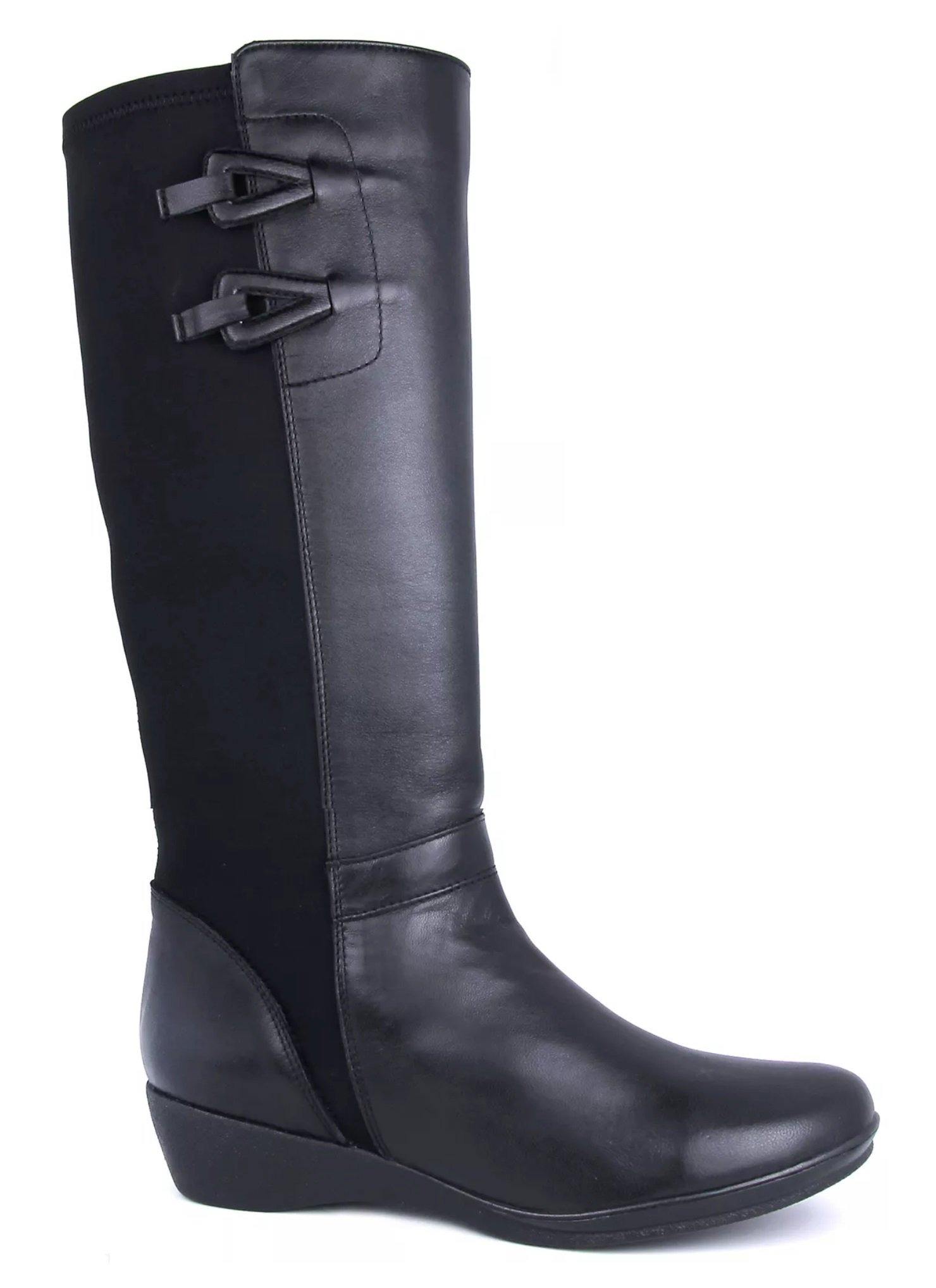 Women's Dr. Scholl's Black Smooth Calfskin & Elastic Tall Comfort Boot (8.5)