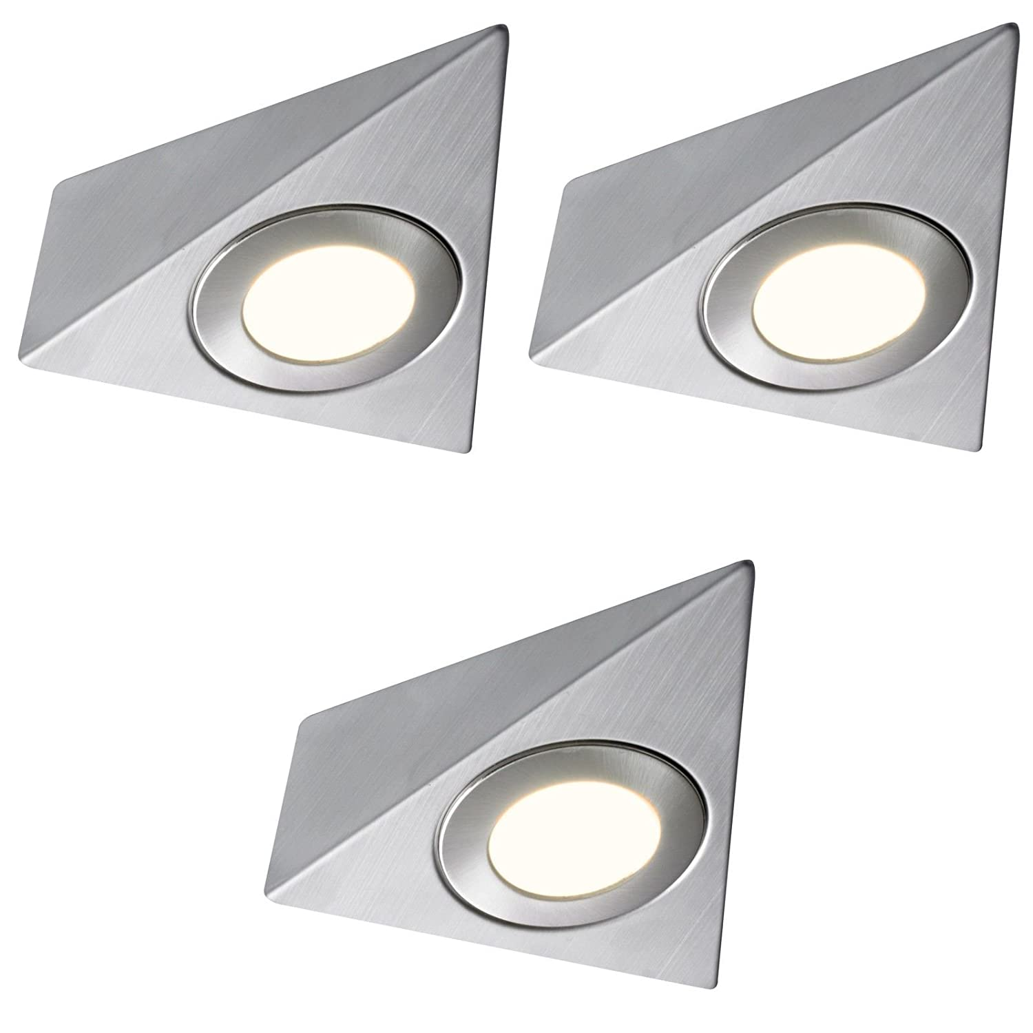 3 X LED MAINS TRIANGLE LIGHT KITCHEN UNDER CABINET UNIT CUPBOARD COOL WHITE Lighting Innovations