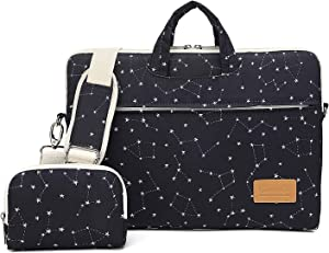 Canvaslife Black Stars Pattern Waterproof Laptop Shoulder Messenger Bag Case Sleeve for 12 inch 13 inch Laptop and 11/12/13.3 inch