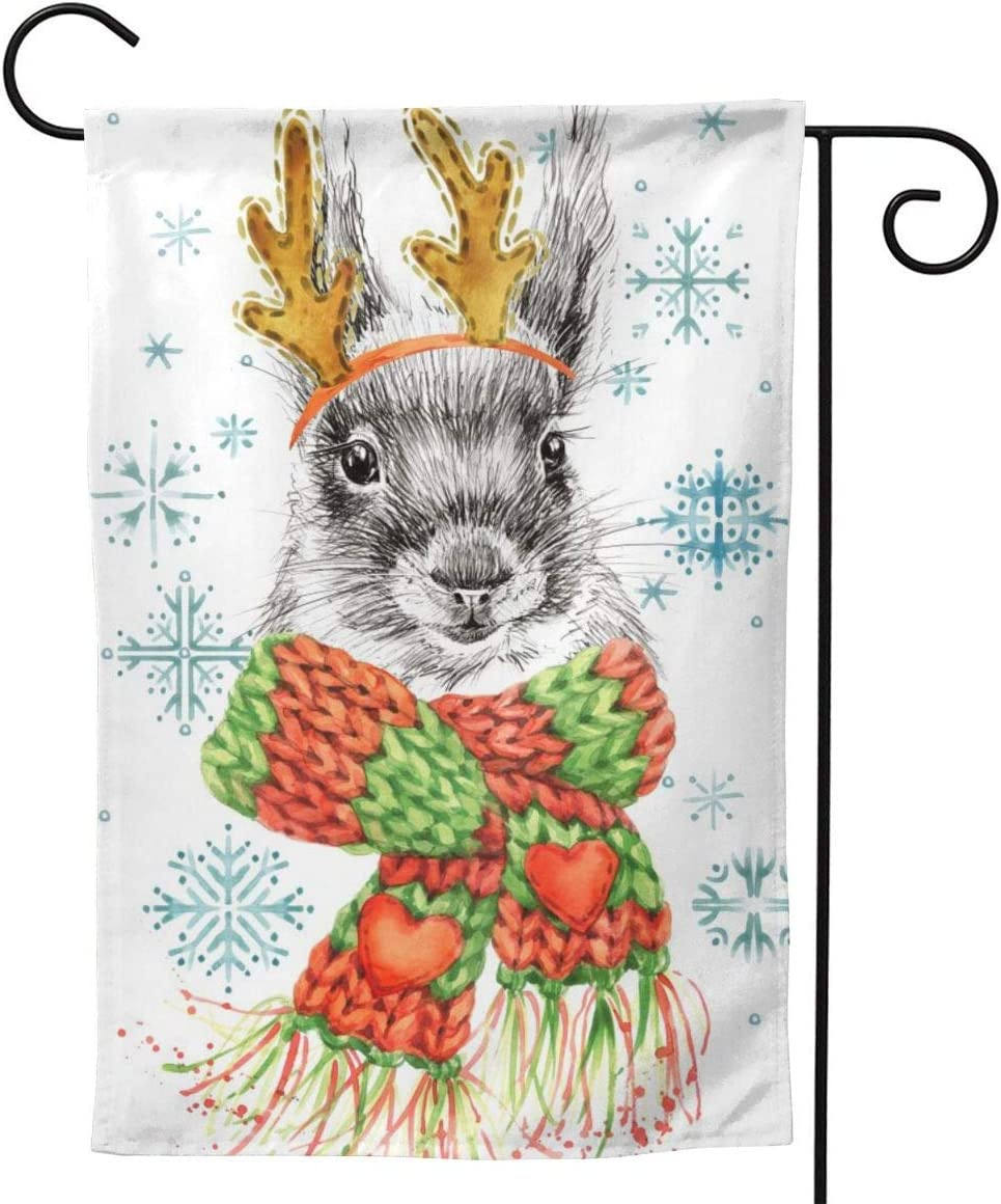 Merry Christmas Garden Flag 12.5X18 inches Heart-Shaped Design Colorful Scarf and Antlers Squirrel House Banner Outside Courtyard Decoration Sign