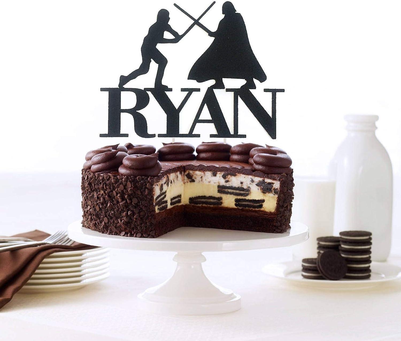 Amazing Luke Vs Darth Vader Cake Topper Custom Name Cake Topper Star Wars Personalised Birthday Cards Fashionlily Jamesorg