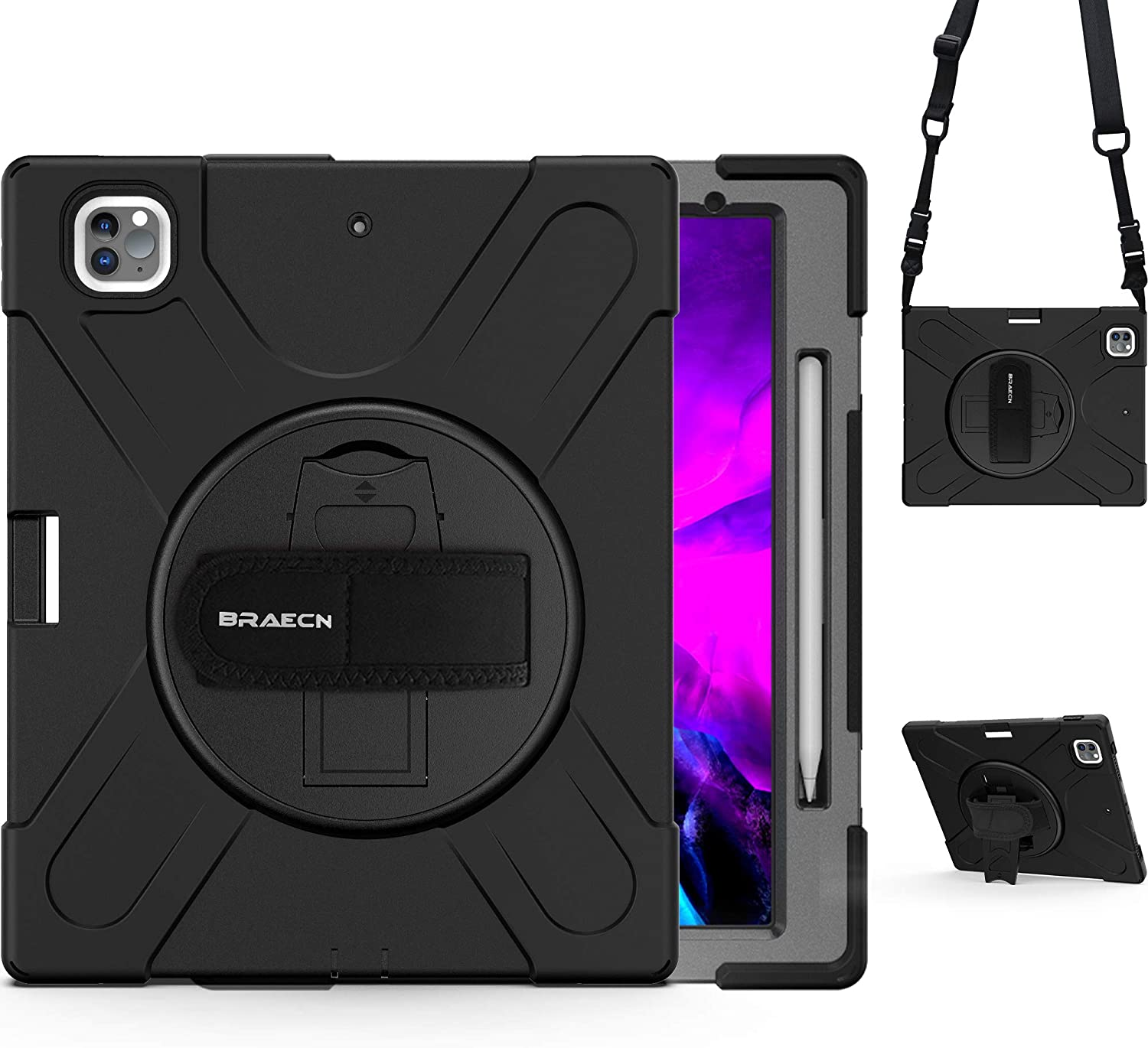 BRAECN iPad Pro 12.9 case 2020 4th Gen [Support 2nd Gen iPad Pencil Charging]- Rugged Heavy Duty Shockproof Case with Shoulder Strap,Rotating Hand Strap/Kickstand for iPad 12.9 case 2018 3rd Gen-Black