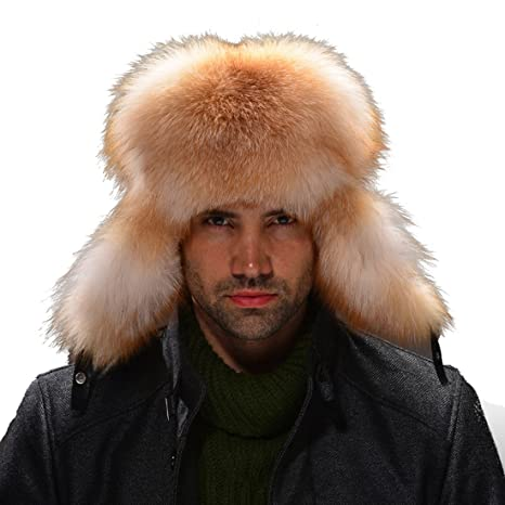 9d6143cc7 URSFUR Silver Fox Fur & Leather Russian Ushanka Hat (One Size ...
