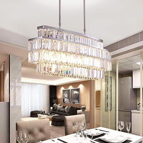 Moooni Modern Oval Rectangular Crystal Chandelier Ceiling Light Rectangle Chandeliers Rod-Type Pendant Light