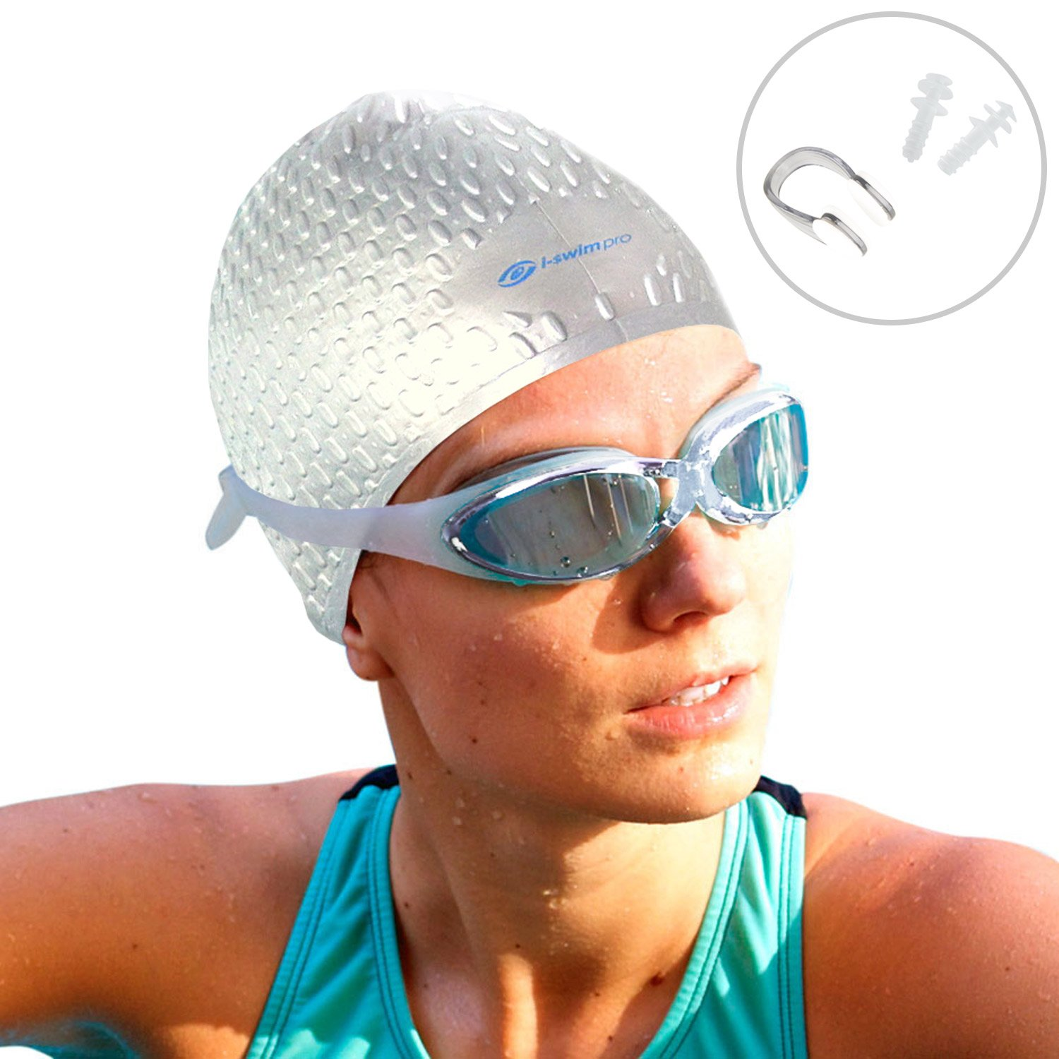 Increases Speed Stays In Place Comfortable Ear Plugs Thick And Short Hair Best Swim Hats For Protecting Long Strong Silicone i-Swim Pro Swimming Caps with Nose Clip