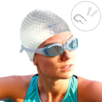 d67a974258aaf5 i-Swim Pro Swimming Caps - Plus FREE Nose Clip + Ear Plugs - Comfortable