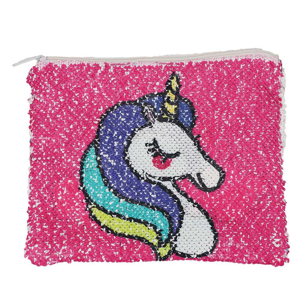 CHUANGLI Magic Sequin Makeup Bag Reversible Cosmetic Pouch Color Changing Unicorn Bling Glitter Purse Wallet Pouch