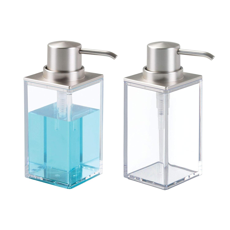 mDesign Modern Square Plastic Refillable Soap Dispenser Pump Bottle for Bathroom Vanity Countertop, Kitchen Sink - Holds Hand Soap, Dish Soap, Hand Sanitizer, Essential Oils - 2 Pack - Clear/Brushed