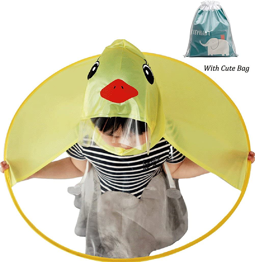 Cute Kid's Duck Raincoat Children Umbrella Cloak Hooded Raincoat for Boys Girls