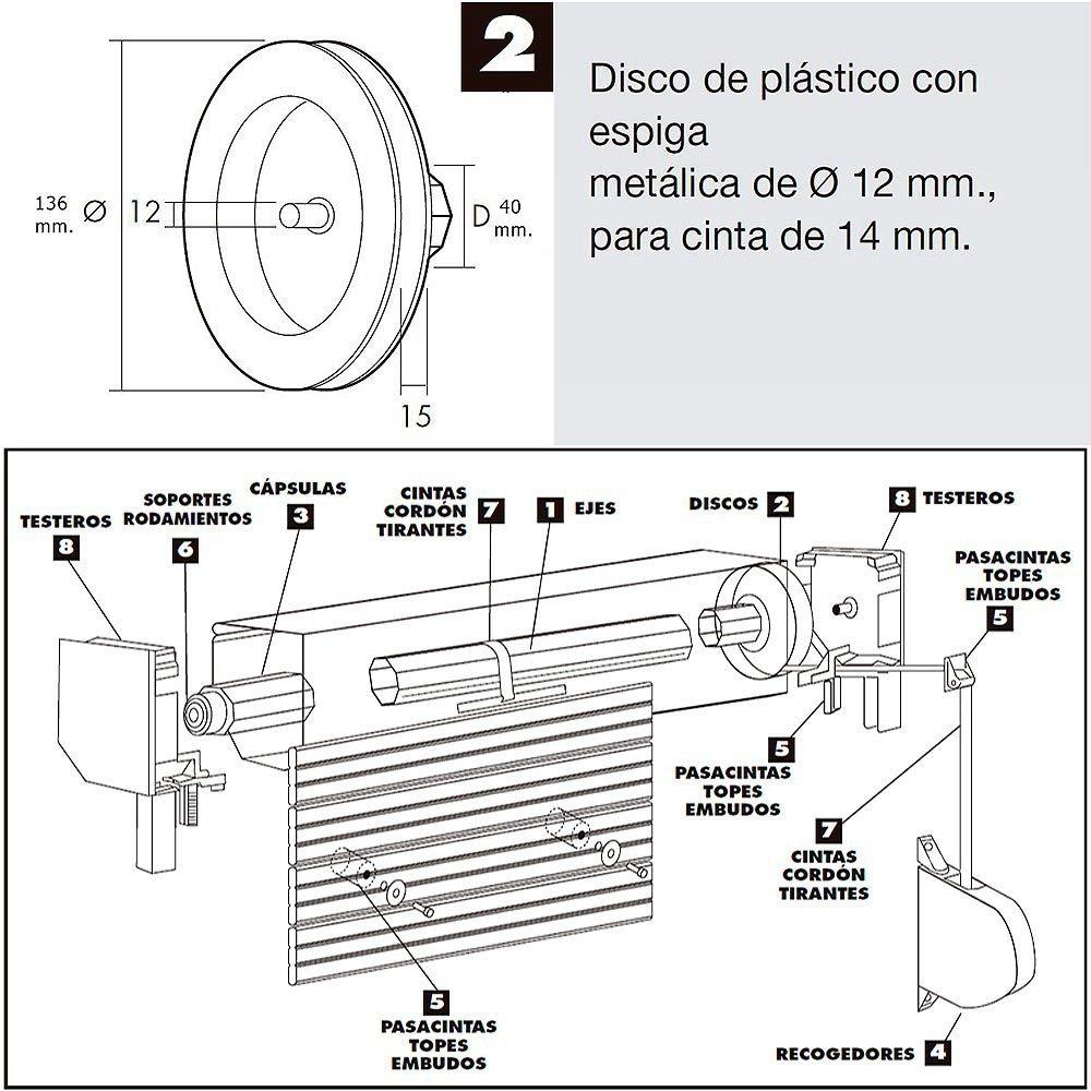WOLFPACK 5250135/Poulie pour volet Roulant Noir Sangle de 14 mm 120/x 40/mm
