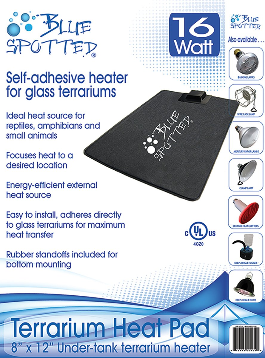 Blue Spotted Under Tank Heater, Terrarium Heat Pad, Size Medium 8 Inches x 12 Inches, For Reptiles, Amphibians And Small Animals And Use with Glass Terrariums