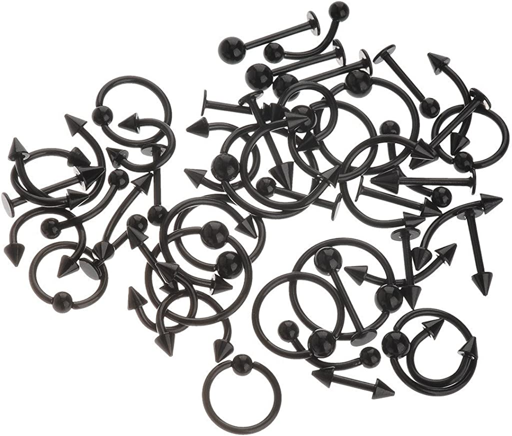 IPINK Spike Bars Labret Lip Ring Stud Body Piercing Stainless Steel Black 50pcs 16g