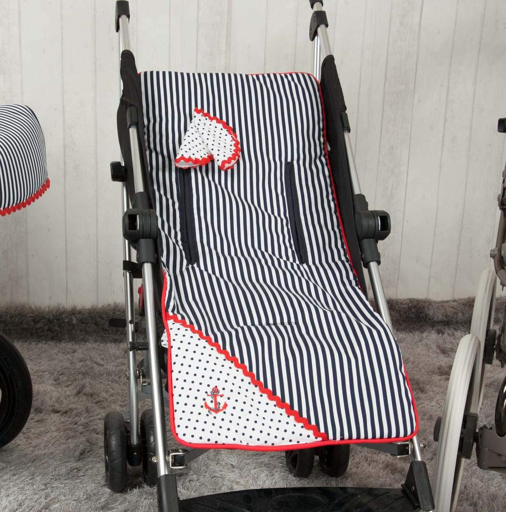 color marino y rojo Babyline Marinero Colchoneta ligera para silla de paseo
