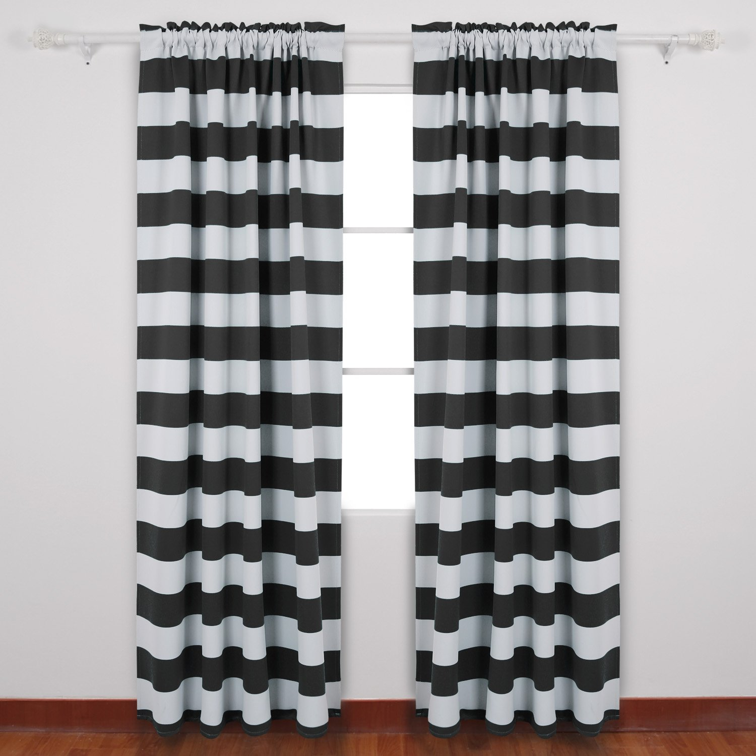deconovo striped blackout curtains rod pocket black and white striped curtains