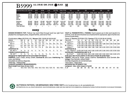 5cd0498d5d1 Amazon.com  BUTTERICK PATTERNS B5999 Misses  Women s Top Sewing Template