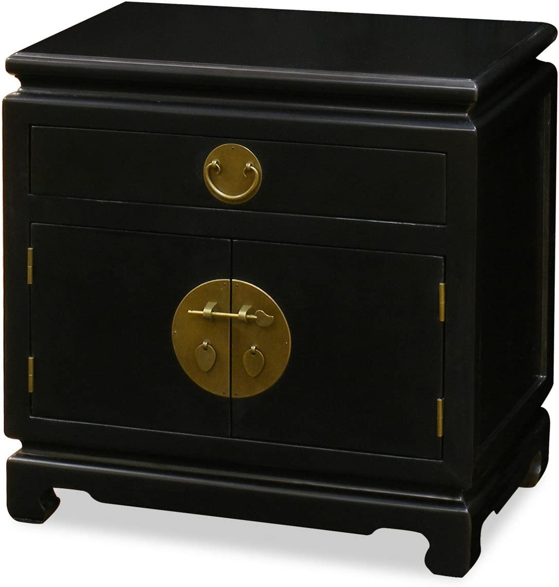 Hand Crafted Ming Style Nightstand Cabinet with Brass Hardware – Black