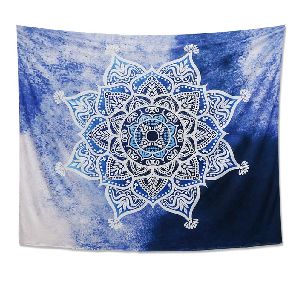 Dremisland Indian Wall Decor Hippie Tapestries Bohemian Mandala Tapestry Wall Hanging Throw (Blue Mandala, Medium)