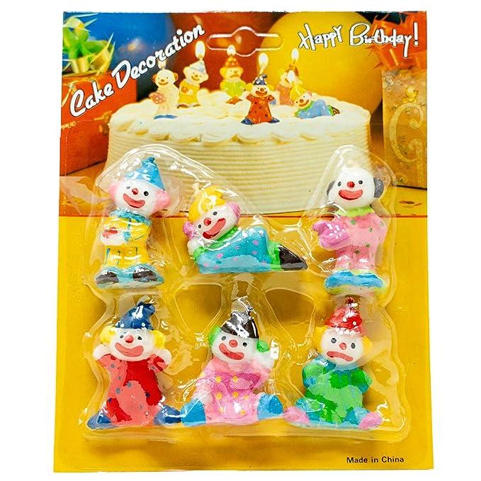 Amazon.com: Velas de cumpleaños de payaso, juego de 6 ...