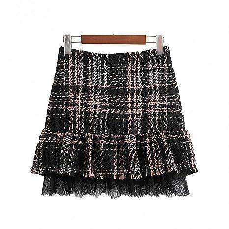 b72eb89274 Dawery Womens Ruffled Tweed Lace Patchwork Plaid Skirts Back Zipper Cute  Ladies Vintage Casual Mini Skirt