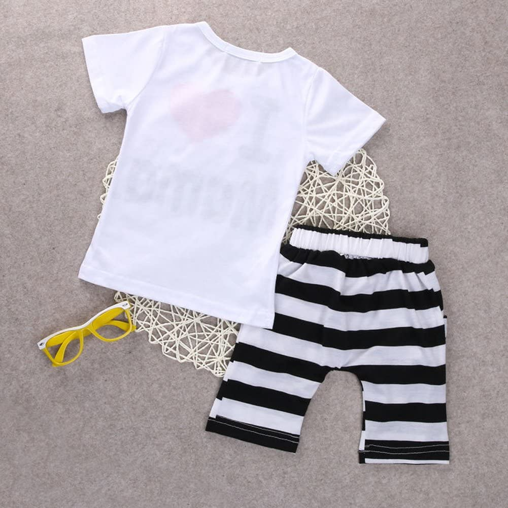 YAZAD Newborn Infant Toddler Baby Boys//Girls White Short Sleeve T-Shirt Tops and Pants Striped Shorts Outfits