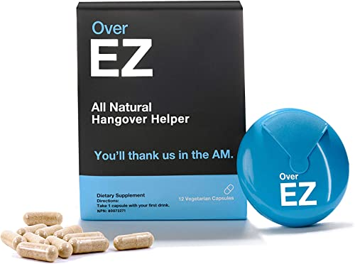 Over EZ Hangover Pill, 100x Strength Liver Detox, Hangover Cure Prevention, 1 Pill Prevents 1 Hangover – Boosts Immunity While You Drink, Milk Thistle, L-Cysteine, Vitamin Bs and DHM 12 Servings