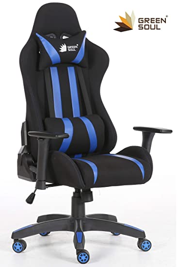 GreenSoul Beast Series Gaming/Ergonomic Chair (Model: GS-600) (Color: Black-Blue) (Size - Medium) (180° Back Recline) (+3 Colors Available)