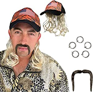 Tiger King Costume Set,Joe Exotic Wig Cosplay,Clip Earrings,and Mustache, Cosplay Tiger King Blonde Mullet Wig,Wigs for Men and Women Suitable for Festivals Such as Halloween or Theme Party