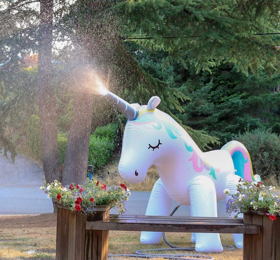 Kimi House Giant Inflatable Unicorn Sprinkler with Over 4.8 Feet Tall, 6.6Feet Long, Water Toys, Yard Summer Sprinkler… 5