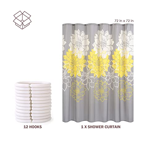 Wimaha Floral Fabric Shower Curtain Mildew Resistant Water Repellent Bathroom Bath Liner Machine Washable