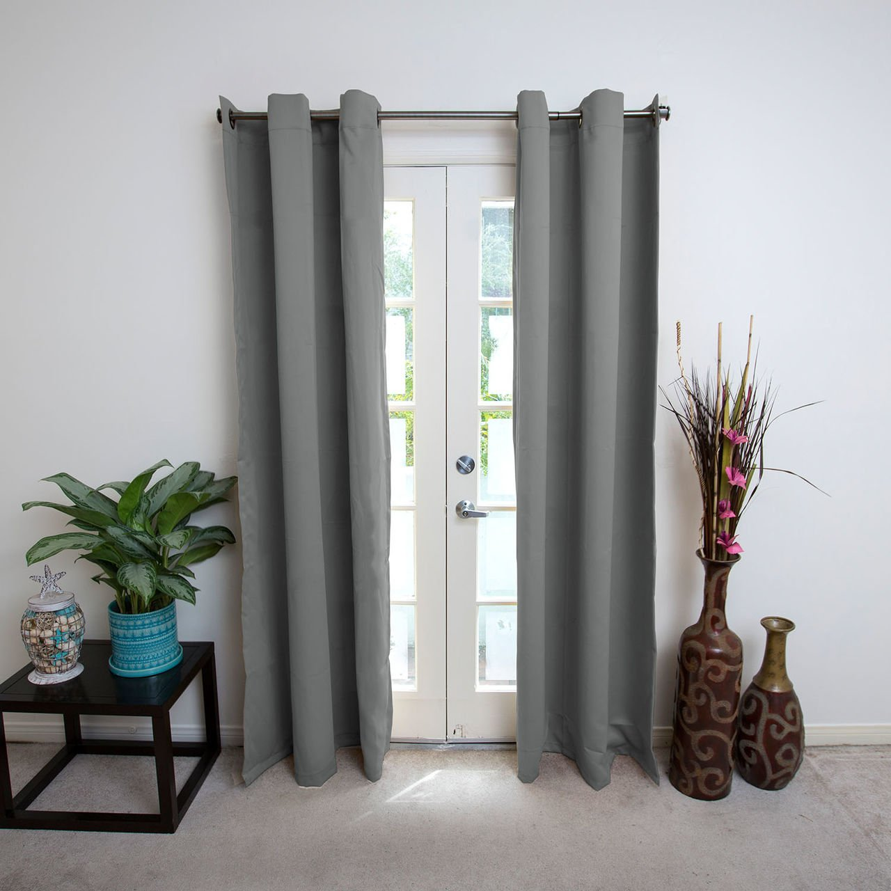CurtainKitsNow Premium Heavyweight Hanging Curtain Kit - Large B, Includes Two Gray 96'' Tall x 50'' Wide Panels & One 56''-108'' Hanging Rod