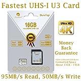 16GB Micro SDHC U3 Card Plus SD Adapter Pack. Amplim Extreme Pro Class 10 UHS-I MicroSDHC 95MB/s Read, 50MB/s Write. Ultra High Speed HD UHD 4K Video. Internal/External MicroSD Flash Memory Storage