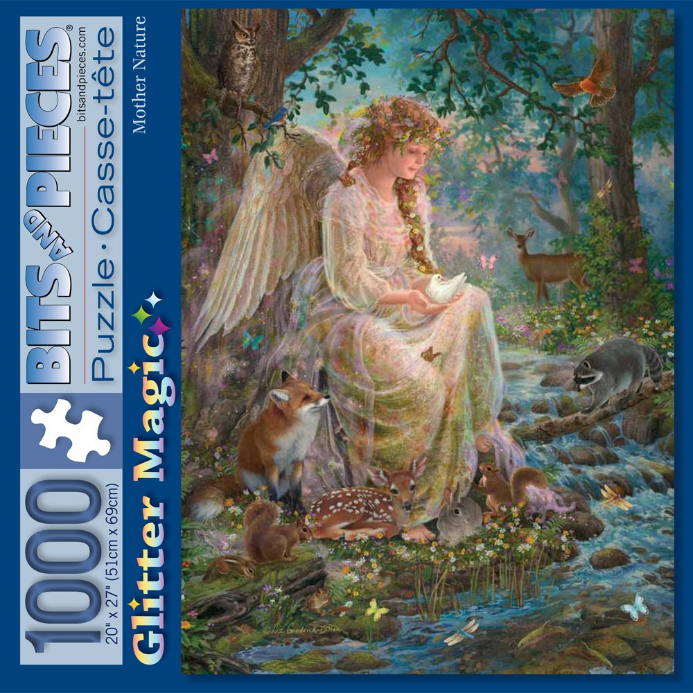 Bits and Pieces - 1000 Piece Glitter Jigsaw Puzzle for Adults - Mother Nature - 1000 pc Forest Fantasy Jigsaw by Artist Liz Goodrick-Dillon