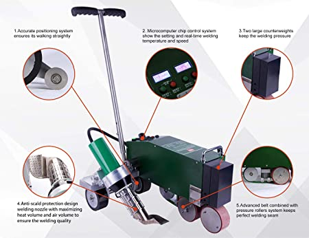TPO PVC Roof Waterproofing Membrane Hot Air Welding Machine with Brushless Air Blower - - Amazon.com