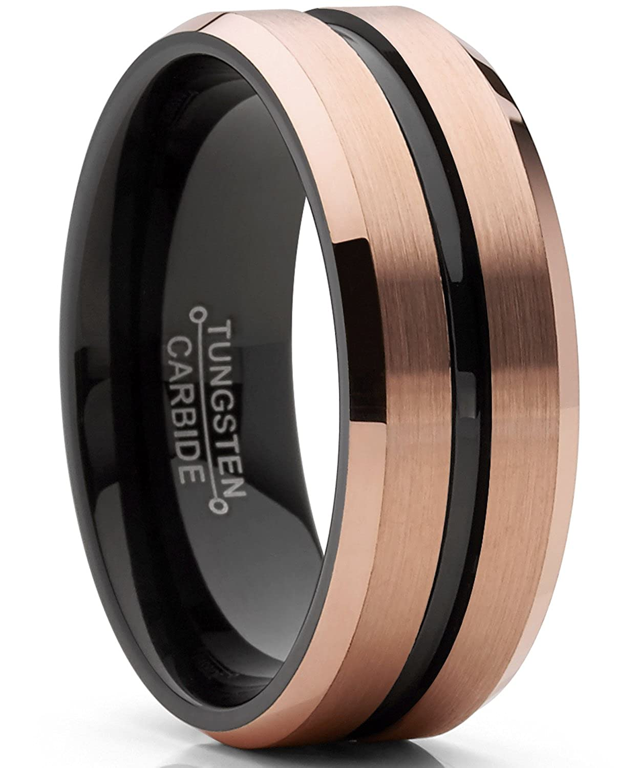 Mens Tungsten Carbide Black and RoseTone Brushed Wedding Band Engagement Ring Comfort Fit 8mm