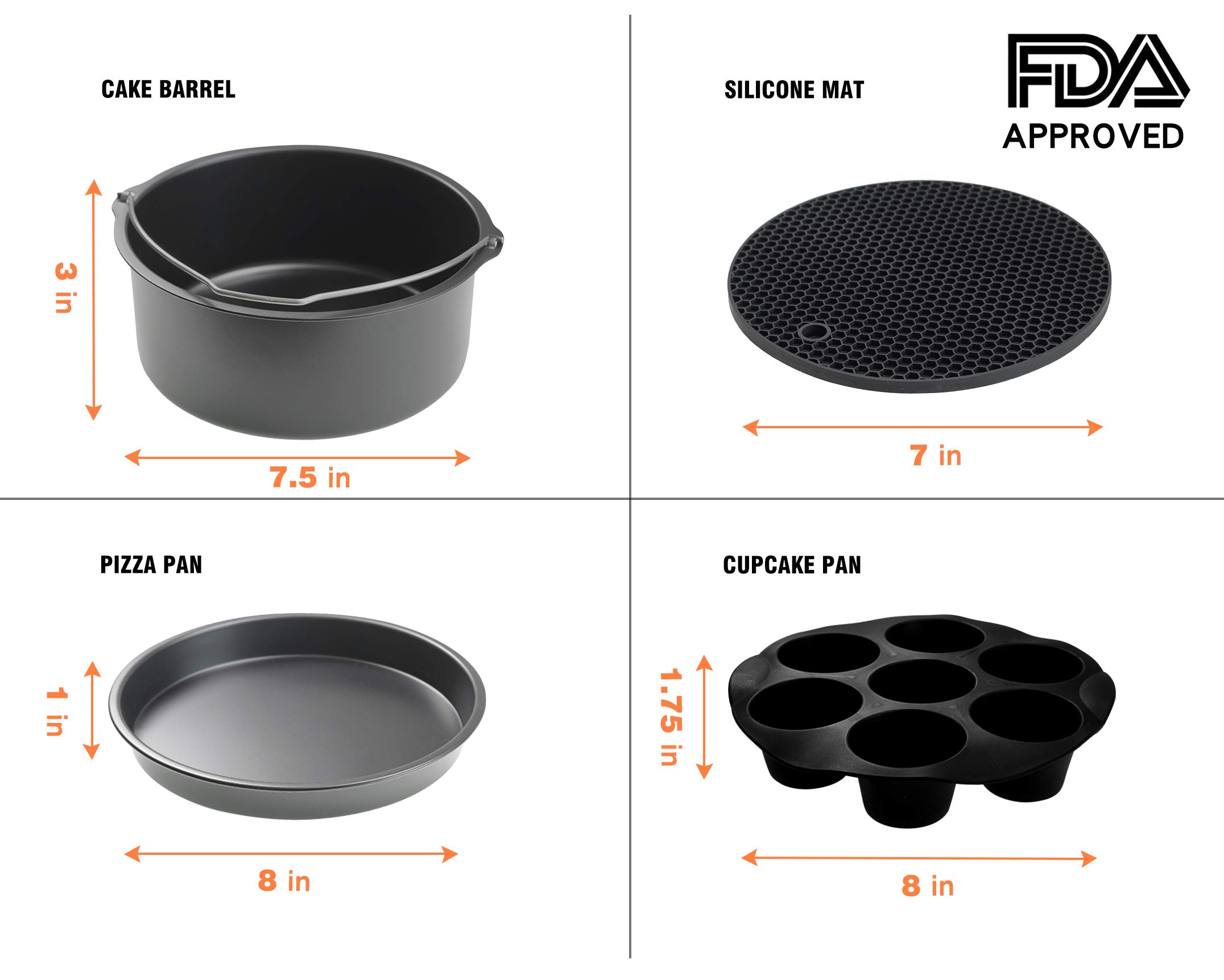 CAXXA XL Air Fryer Accessories Compatible with Gowise, Cozyna and Phillips, Fit all 4.2QT - 6.8QT and UP (Deluxe Set Of 9) by CAXXA (Image #3)