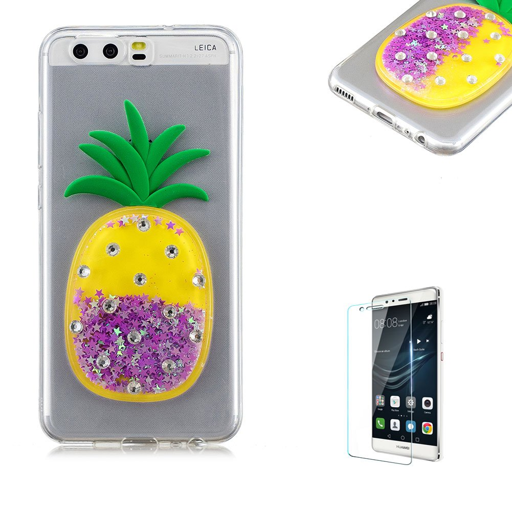 Funyye Liquid Quicksand Glitter Case for Huawei P10 Lite,Luxury 3D Diamond Pineapple Purple Bling Sparkle Flowing Stars Soft TPU Transparent Silicone Cover for Huawei P10 Lite,Ultra Thin Flexible Rubber Protective Case for Huawei P10 Lite + 1 x Free Screen