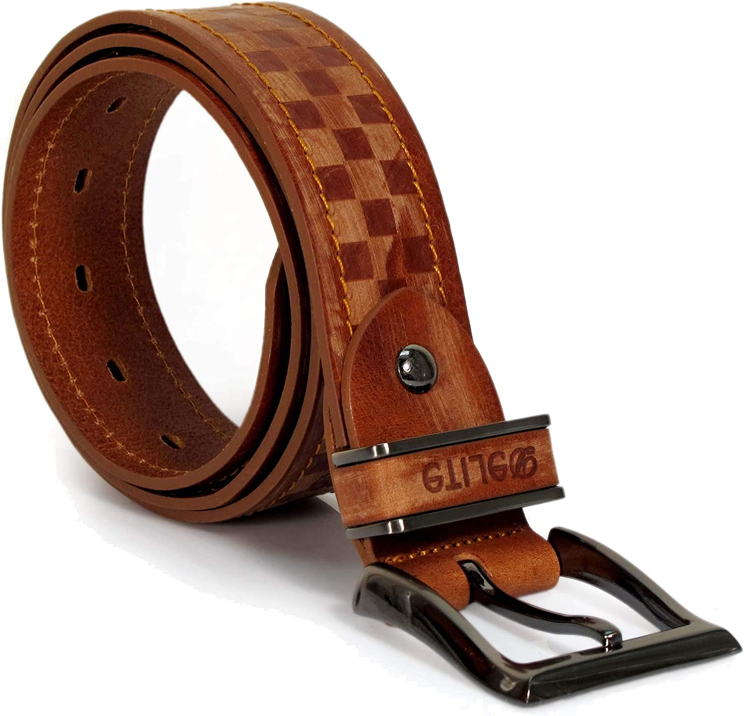 CU4 Mens Real Genuine Leather Belt Black Brown White 1.5 Wide S-XL Casual Jeans