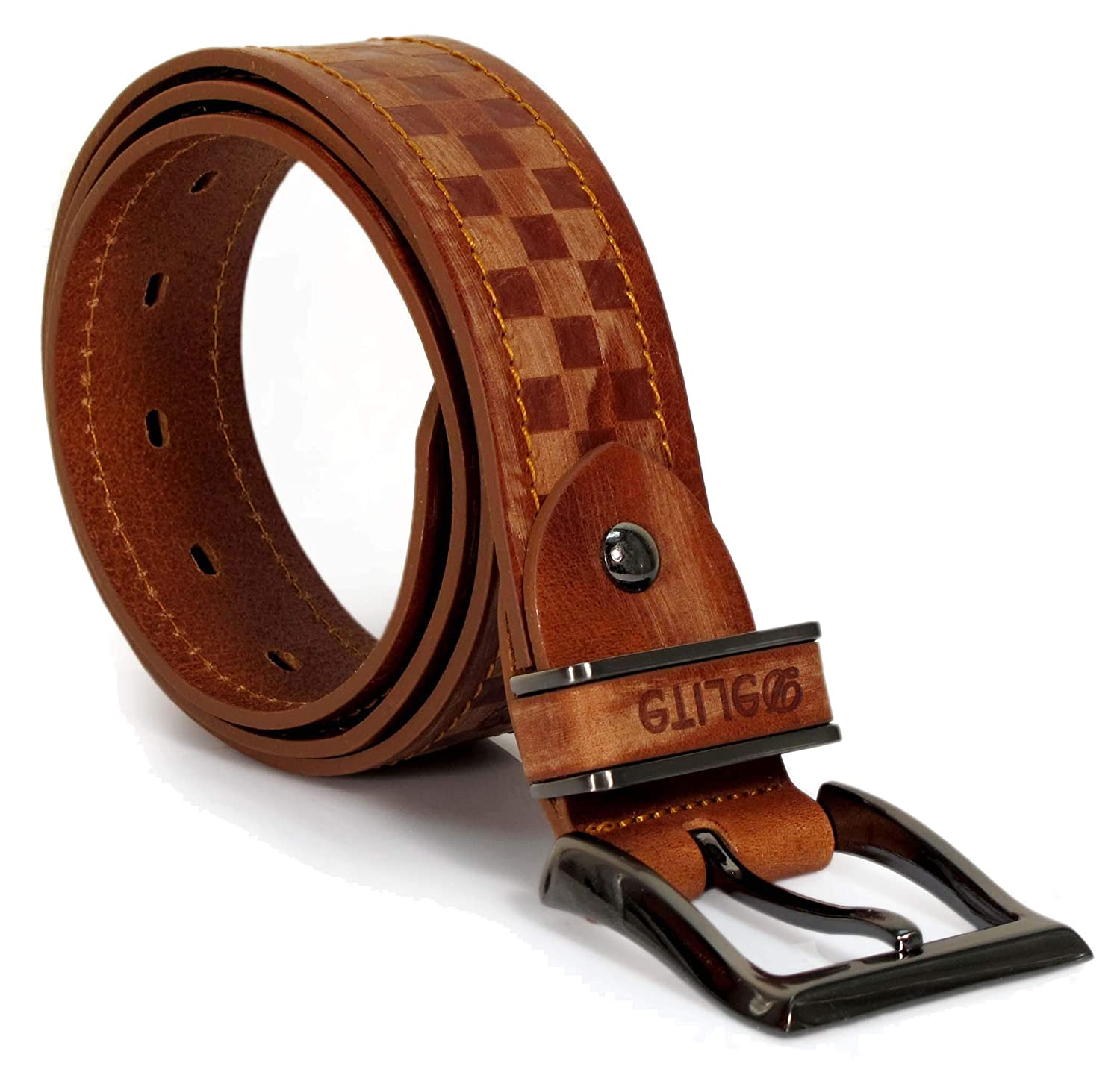 Mens Real Genuine Leather Tan Brown Belt 1.5 Wide S-XL Thick Casual Jeans CM9