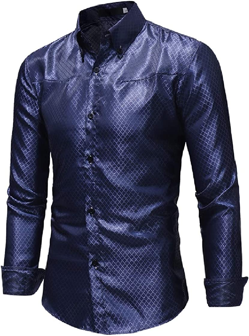 DressU Mens Relaxed-Fit Jacquard Plaid Long Sleeve Peaked Collar Dress Shirt