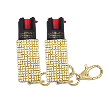 BLINGSTING Pepper Spray Keychain for Women Professional Grade Maximum Strength OC Formula 1.4 Major Capsaicinoids 12 Ft Effective Range Accurate ...