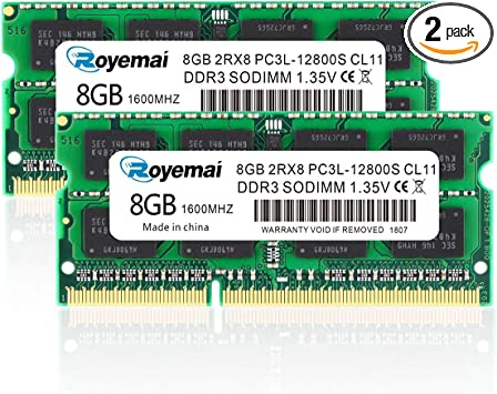 Hynix 16GB KIT 2X8GB 12800S PC3L-1600Mhz 1.35V 204pin SO-DIMM Laptop Memory RAM