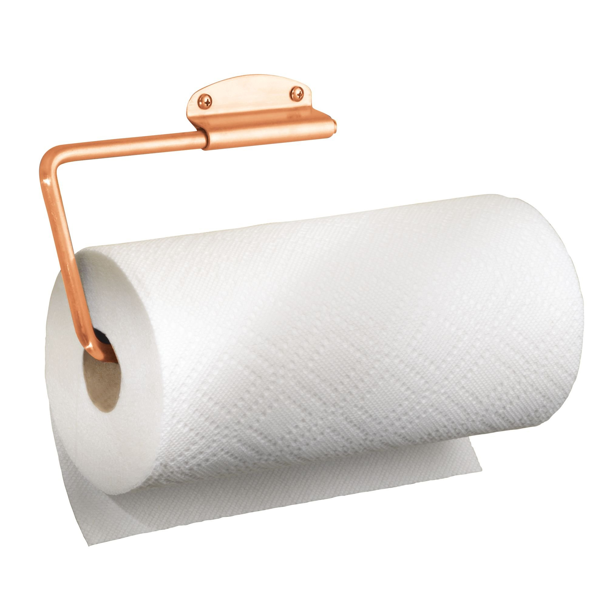 mDesign Versatile Wall Mount Paper Towel Holder & Dispenser, Mounts to Walls or Under Cabinets - for Kitchen, Pantry, Utility Room, Laundry and Garage Storage - Holds Jumbo Rolls, Steel Wire, Copper