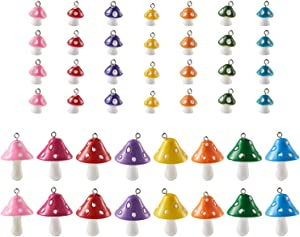 Craftdady 30pcs Resin Mushroom Pendants Cute Colorful Miniature Wild Fungi Food Charms Mixed Color for Earring Pendant Bracelet Jewelry Keychain Craft Making