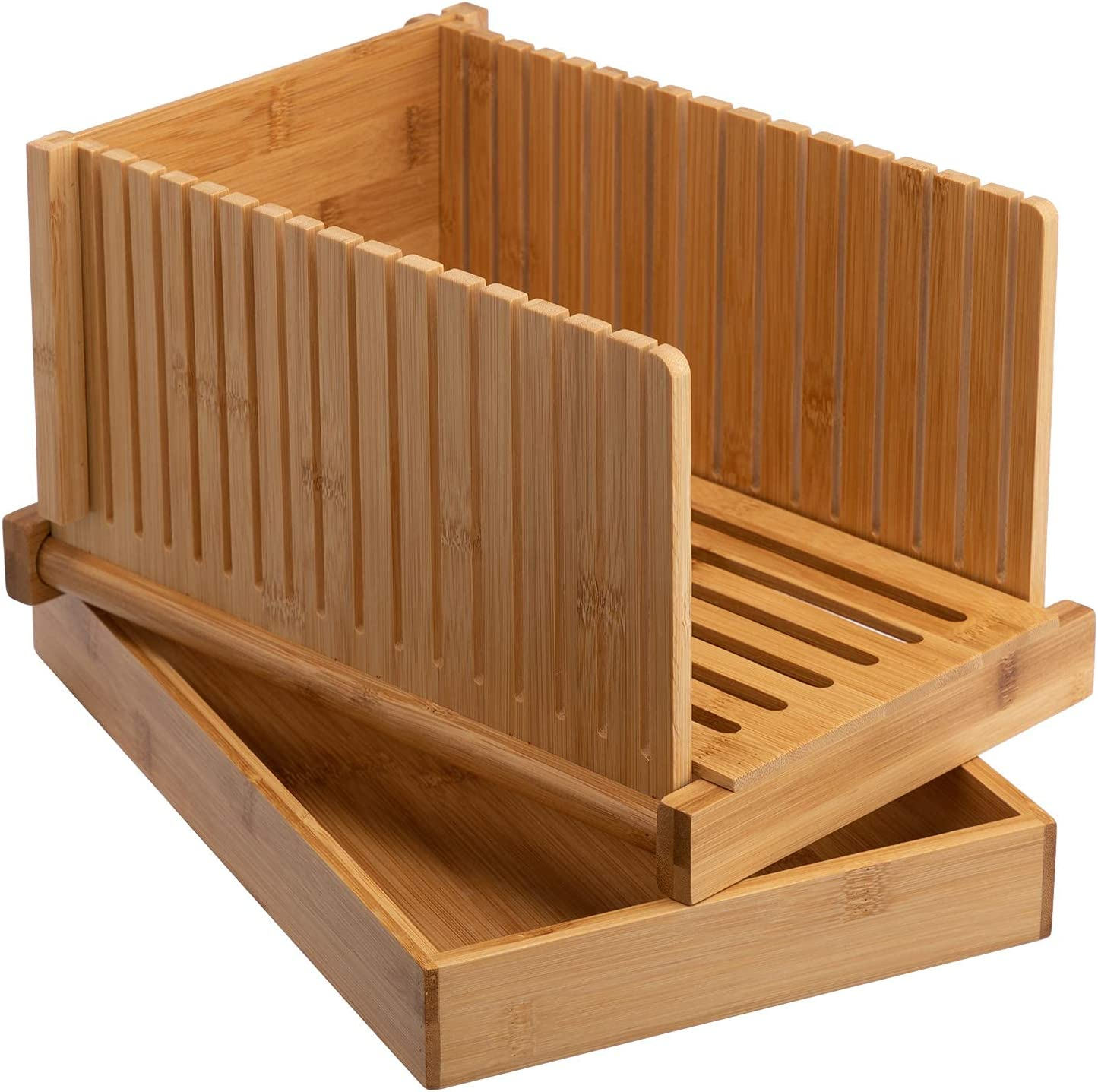 HollyHOME Bamboo Bread Slicer for Homemade Bread Loaf with Crumble Holder,Foldable Compact Bread Slicing Stand Suitable For Bread, Cakes And Bagels– Thin or Thick Slices, Natural