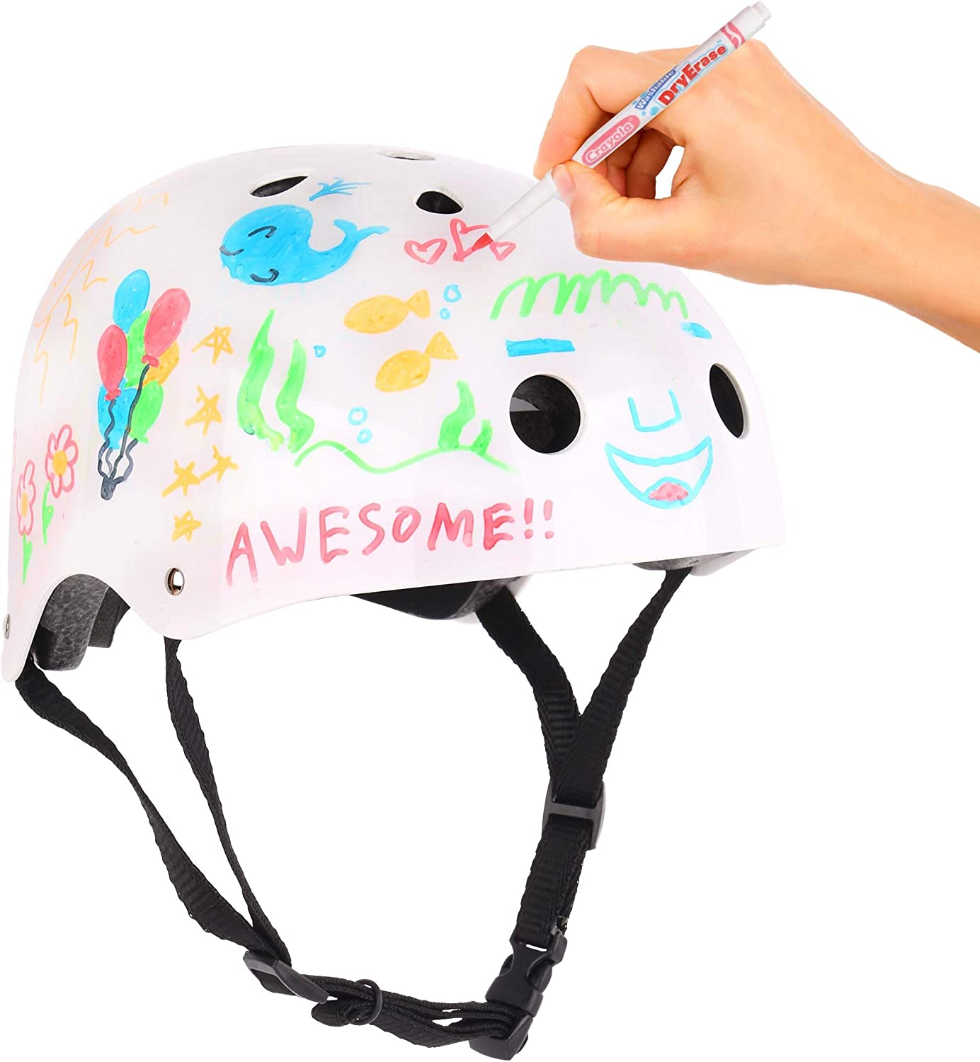Dry Erase Surface Ages 5+ 11 Vents For Multi-sports Bike Scooter Roller Skate Crayola Kids Bike Helmet For Bike Scooter Skate Markers Included Shock Absorbent EPS Inner Shell CPSC ASTM Certified