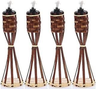 Mesa jardín bambú antorcha con eingesetzter mechas Incluye Gratis mechas de repuesto (mesa bambú antorcha + mecha de repuesto), marrón: Amazon.es: Jardín