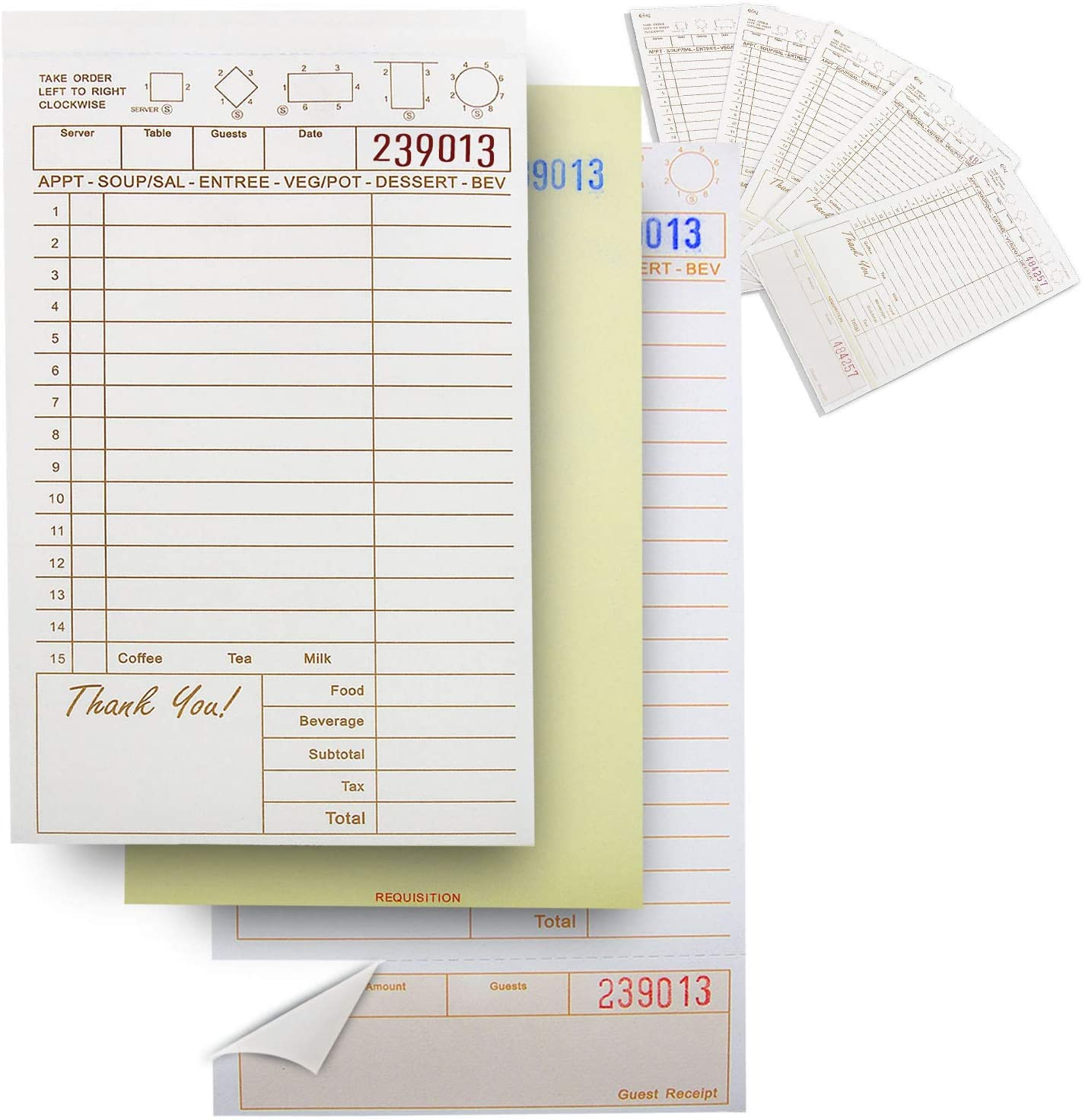 [250 Sheets] 3 Part Carbonless Guest Check Pads - Tan and White Perforated Server Note Paper for Waitress Book, Waiter Food Receipt, Menu Order Copy, Restaurant Notepad Supplies and Business Checkbook