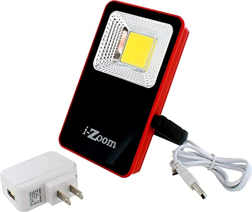 COB Portable 1000 Lumen 10-Watt Flood Light and Power Bank, 2.1A Output for Charging Tablets, iPad, Smartphones and More, Includes Charging Micro USB Cord, AC Adapter, Weatherproof.